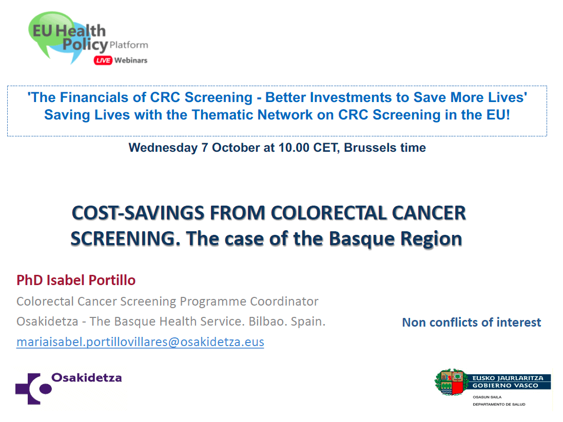 COST-SAVINGS FROM COLORECTAL CANCER SCREENING. The case of the Basque Region